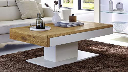 Möbel Akut Couchtisch Wohnzimmertisch Tisch Light Line Balkeneiche furniert Gestell weiß matt lackiert Schiebefunktion