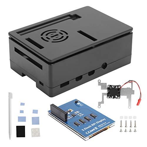 Hyuduo1 Für Raspberry Pi 4B Gehäuse Shell Kit, LCD 3,5 Zoll Touchscreen Shell Kit, 480 x 320 Auflösung Standlüfter Computerzubehör, Geeignet für Raspberry Pi 4B / 3B + / 3B / 2B(Schwarz)