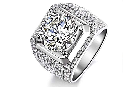 High-end jewelry fashion simulation S925 sterling silver 5 carat CZ wedding ring square cut 5A zircon engagement ring (9)