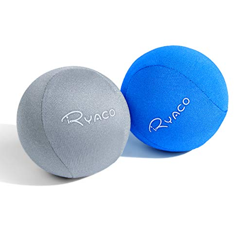 Ryaco Juego de 2 Bolas antiestrés de Gel para Ejercicios de Manos, Juego de 2 Bolas de Gel Blando y Duro para Adultos y niños: Alivio de la ansiedad (Gris y Azul)