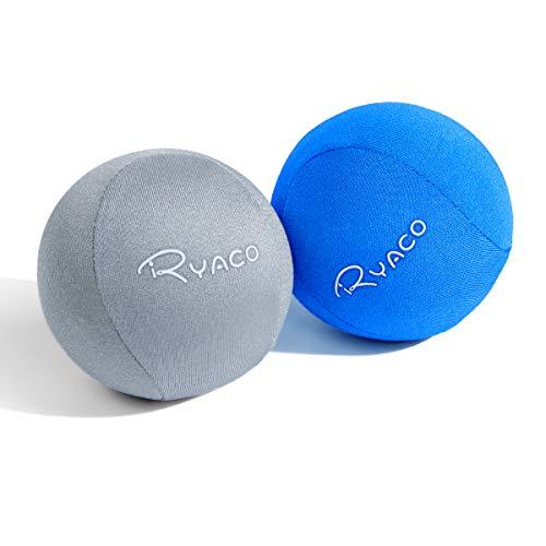 Ryaco Antistress-Bälle, 2er-Set, Handtrainer, Knetball, Fingergymnastik-Ball, Stressbewältigung (Grau + Blau)