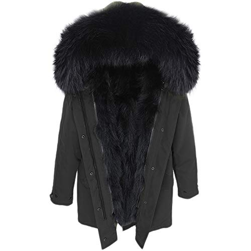 Lea Marie Damen Luxury Parka XXL Kragen aus 100% ECHTPELZ ECHTFELL Jacke Mantel Fuchspelz Innenfutter (L, Schwarz/Schwarz)