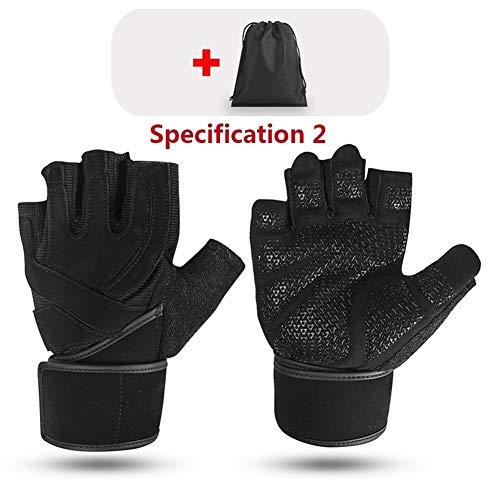 Guantes aire libre deportivos Super Fiber Widening Wristband Transpirable Gimnasio Guantes De Fitness Levantamiento De Pesas Mancuernas Body Building Workout Guantes ( Color : Type2 Black , Size : M )