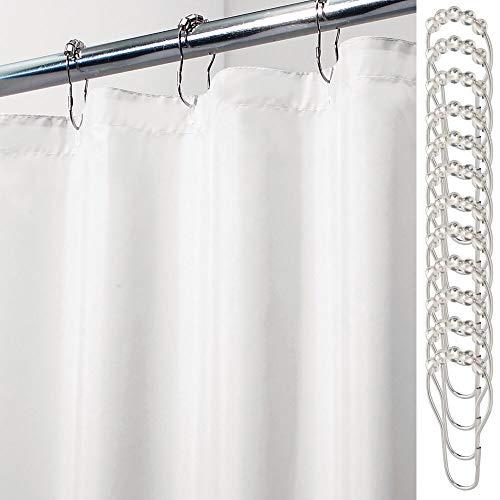 mDesign Cortina de baño de poliéster – Cortina de baño Extra Larga con 12 Aros para Colgar incluidos – Cortinas de Ducha y para bañera Impermeables en 100% poliéster – Blanco