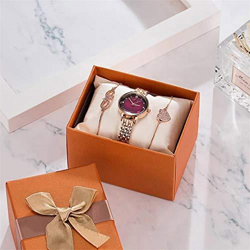 MTRESBRALTS - Reloj de pulsera de cuarzo con caja de regalo, color morado
