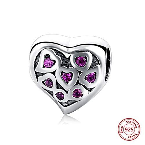 DASFF Charm Silver 925 Pink Beads en Forma de corazón se Ajusta a la Pulsera Original Colgante Joyas Regalo de San Valentín