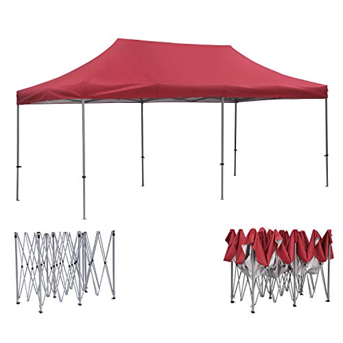 10ft x20ft Pop Up Canopy Tent, OVASTLKUY Outdoor Patio Tent Beach Tent Instant Shelter Party Gazebo Pavilion (Red(Without Sided Cloth))