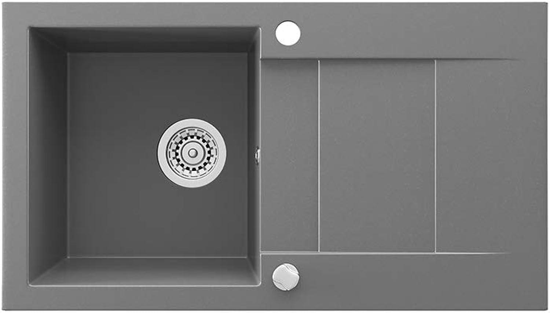 Bergstrm Granit Verbundspüle 750 x 430cm Küchen Einbau Auflage Spüle Spülbecken + Siphon + Drehexcenter Grau