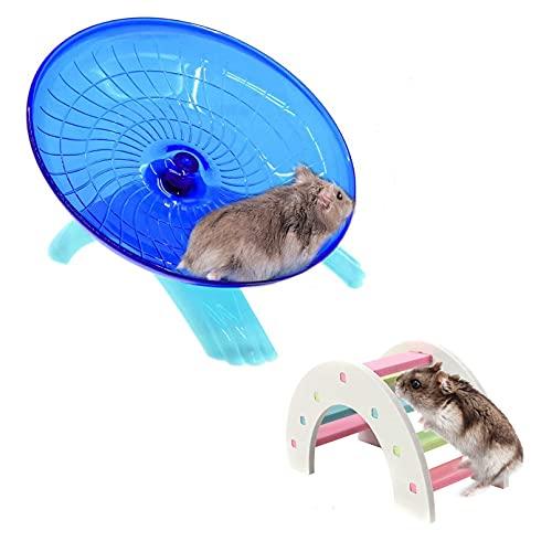 2 Pack Rat Flying Saucer Exercise Wheel & Wood Bridge Rainbow Climb -...