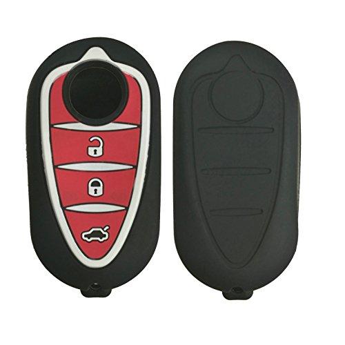 kaser Cover Custodia Silicone per Chiave Alfa Romeo 3 Tasti Guscio Morbido Protezione Telecomando Auto per Giulietta Mito 159 GTA