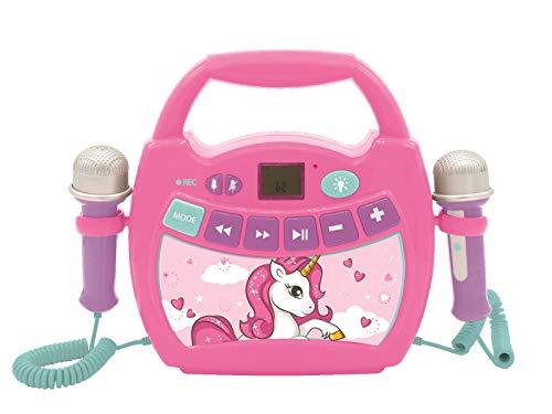 Lexibook MP300UNIZ Einhorn, Mein erster Karaoke Musikplayer mit 2 Spielzeugmikrofonen, kabellos, Aufnahmefunktion, Stimmeneffekt, pink/blau