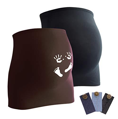 Mamaband Lot de 2 bandeaux de grossesse pour femme enceinte 1 x uni 1 x imprimé - Chauffe-dos et extension de t-shirts pour femmes enceintes - Vêtements de maternité élastiques - Marron - Small
