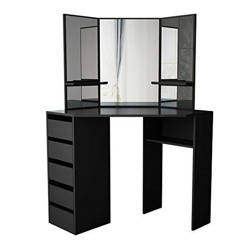 Tocador moderno con 5 cajones, mesa de maquillaje blanca con 3 espejos para dormitorio, tocador para amplio almacenamiento (negro)