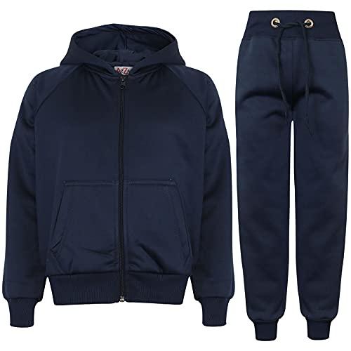 Kids Girls Boys Plain Tracksuit Hooded Hoodie Jog Suit TS Plain 109 Navy 7 8