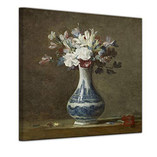 Wandbild Jean Siméon Chardin Vase mit Blumen - 60x60cm Quadrat - Alte Meister Berühmte Gemälde...