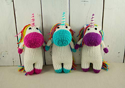 Licorne peluche licorne tricoté main jouet licorne arc-en-ciel jouet licorne crochet