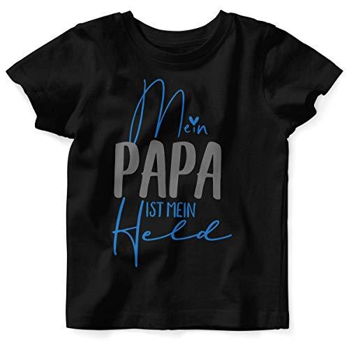 Mikalino Baby/Kinder T-Shirt mit Spruch für Jungen Mädchen Unisex Kurzarm Mein Papa ist Mein Held | handbedruckt in Deutschland | Handmade with Love, Farbe:schwarz, Grösse:92/98