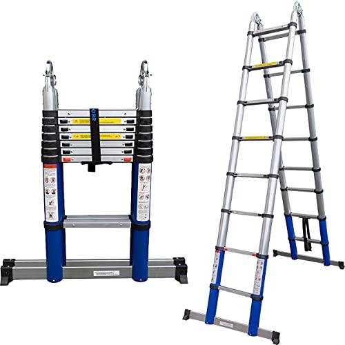 ALDORR 5,00M Escaleras de Aluminio Extensible Multiusos   Escalera Plegable Telescópica   Máximo 150kg   Cierre Suave (EN131)