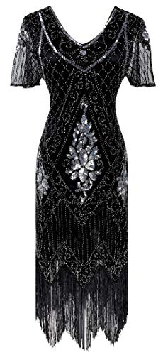 Women 1920s Gatsby Vintage Sequin Flapper Fringe Party Plus Dress with 20s Accessories Set, Style Leaf Black Silver, XX-Large