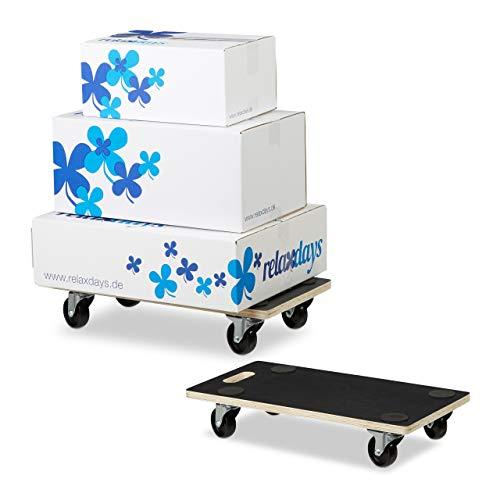 Relaxdays 2 x Transportroller XL im Set, Möbelroller mit Feststellbremse, 400 kg, für alle Böden, Transporthilfe