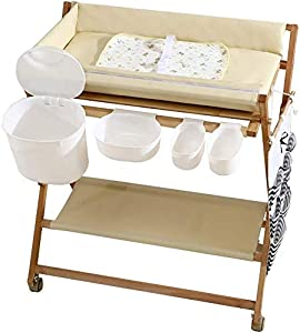 CWJ Small Bed for Look After Baby Without Bending Over  Baby Changing Table Wood Folding Wheels with Storage Baskets  Portable Diaper Station Leather for Infant Newborn Save Space Storage Desk