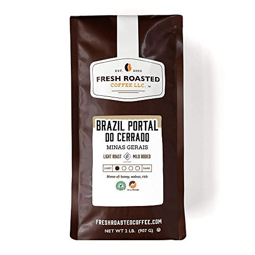 Fresh Roasted Coffee LLC, Brazil Minas Gerais Coffee, Light Roast, Whole Bean, 2 Pound Bag