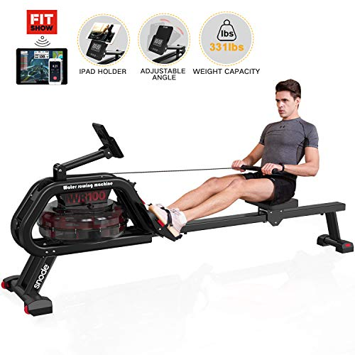 SNODE Water Rower Rowing Machine with Water Resistance & Fitshow APP& Large LCD Monitor for Home Gym Equipment Cardio Training Exercise