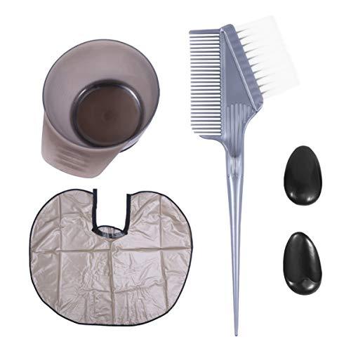 Minkissy Kit de Coloration Des Cheveux Bol de Teinture Pinceau de Teinture Cape de Couverture D'oreille pour Salon de Bricolage Séchoir à Cheveux Outils Femmes Clients 1 Set Gris