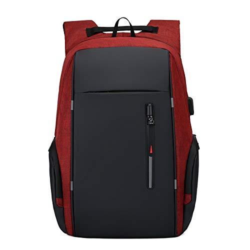 Lpiotyubeib Mochila, Litthing Mochila Hombres de Carga USB del Ordenador portátil Bolsas Impermeable de los Hombres de Sport Travel Business Notebook Masculino morral Paquete (Color : Red)