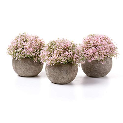T4U Künstliche Blumen Bonsai Kunstpflanze mit grauen Topf, für Hochzeit/Büro/Zuhause Dekoration - Rosa Blüten, 3er Set