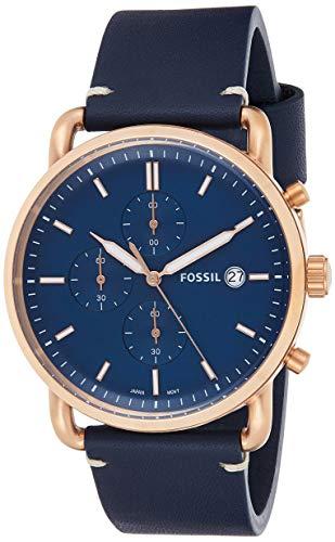 Reloj Fossil The Commuter Chrono para Hombres 42mm, pulsera de Piel de Becerro