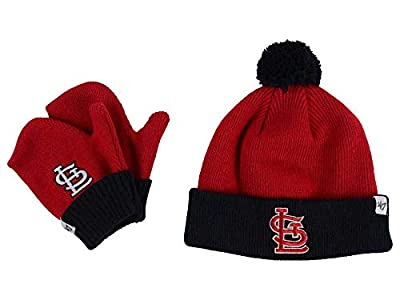 '47 Brand Infant/Toddler Bam Bam 2-Tone Beanie Hat POM and Glove Gift Combo - MLB Baby Knit Cap/Mittens