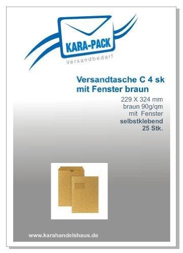 Kara-Pack Versandtaschen Din C4 sk Fenster 90g braun 25 Stück
