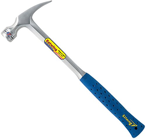 Estwing Framing Hammer - 24 oz Long Handle Straight Rip Claw with Milled Face & Shock Reduction Grip - E3-24SM, Silver