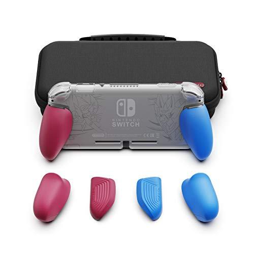 Skull & Co. GripCase Lite Bundle für Nintendo Switch Lite Bundle Pokemon Cyan & Magenta GripCase Lite + MaxCarry Case Lite Bundle