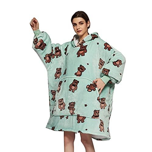 KANGSHENG Sudadera con Capucha De Gran Tamaño, Manta De Franela Sherpa Hoodie, Warm Cozy Comfy Wearable Manta, Manta Suave Y Cómoda Y Bolsillo Frontal Grande, para Mujeres, Adultos, Niños