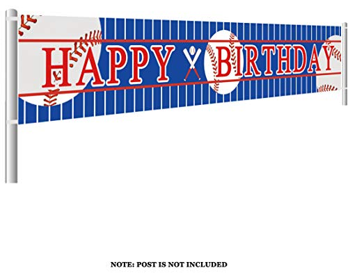 Colormoon Large Baseball Happy Birthday Banner, Sports Theme Birthday Party Supplies Decorations
