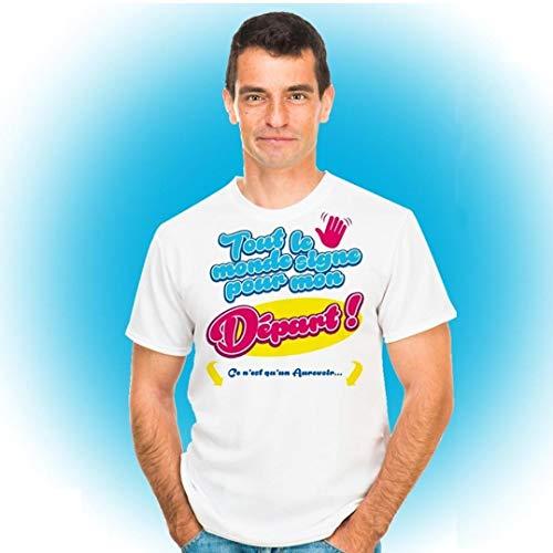 Tee Shirt Stylo Dédicace Tout le monde signe pour mon Départ Taille U