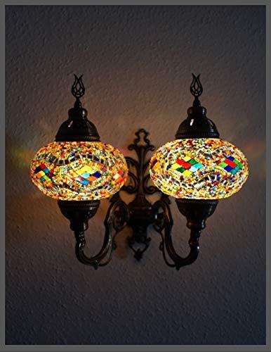 Doppel Glas Wandleuchte Mosaiklampe Mosaik Wand Lampe Orientalische Lampe Wandlampe L Samarkand-Lights
