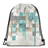 Osmykqe Kordelzug Taschen abstrakte Textur mit Quadraten und Daypack stilvolle Schule Laptop-Tasche für Männer/Frauen