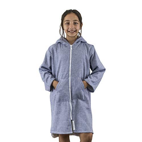 SAMMIMIS - Toalla con capucha para niños, con cremallera y forro de rizo, algodón turco, suave y absorbente, Marino, 8-10 Años