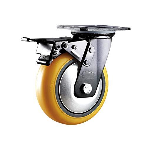 Castors Robuste Industrie-Rollen, universell ausgerichtetes Rad, Anti-Wrap, Polyurethan-Trolley, Textilausrüstung (100 mm / 125 mm schwarz), 2 Stück, B, 125mm