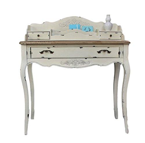 elbmoebel Console Segretario Bianco Marrone Antico Paese Casa lusso nuovo beige legno massello Tavolo
