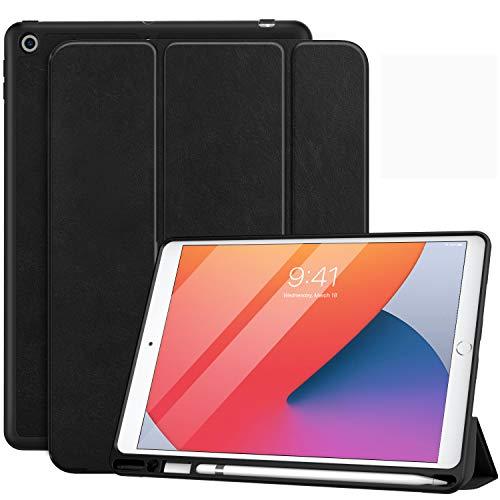 MoKo Funda Compatible con Nuevo iPad 10.2' 2020/2019, Protectora de PC con Soporte de Apple Pencil con Función de Auto Estela/Sueño para iPad 8th Generación 2020 / iPad 7th Gen 2019 - Negro