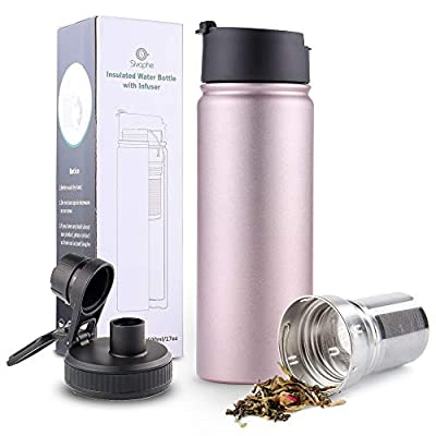 Infuser Travel Mug with Removable Tea Strainer Bottle 18/8 Stainless Steel Insulated Tumbler Rosegold