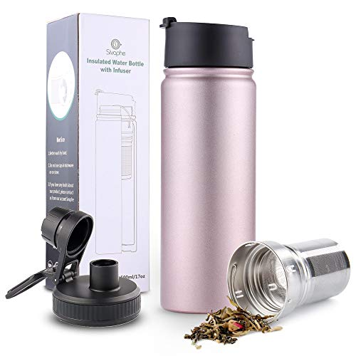 Infuser Travel Mug with Removable loose leaf Tea Strainer Bottle 18/8 Stainless Steel Insulated Tumbler Rosegold