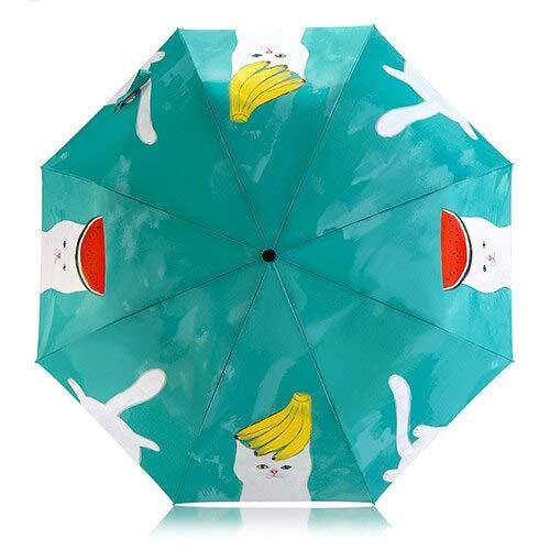 qqyz Student Paraplu Vouwen Paraplu Kinderen Winddichte Paraplu 8 Ribs Kleurrijke Leuke Niet-automatische Vrouw Kat Paraplu