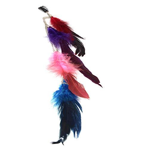 Justfox Haarclip, haarketting met veren, bont