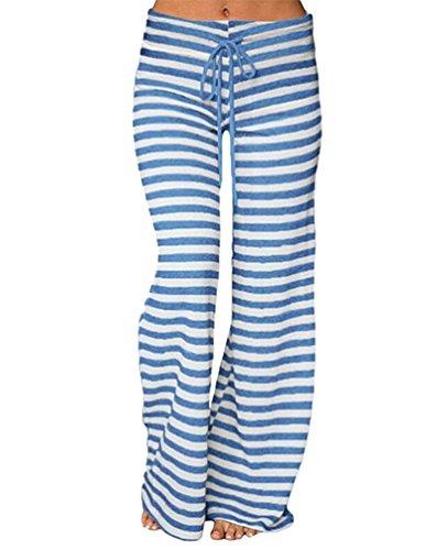 YuanDian Mujer Casual Cordón Impresión Rayas Pantalones Anchos Cintura Baja Pata Ancha Pantalones Palazos Campana Amplios Fluidos Elefante Yoga Pantalones Azul S