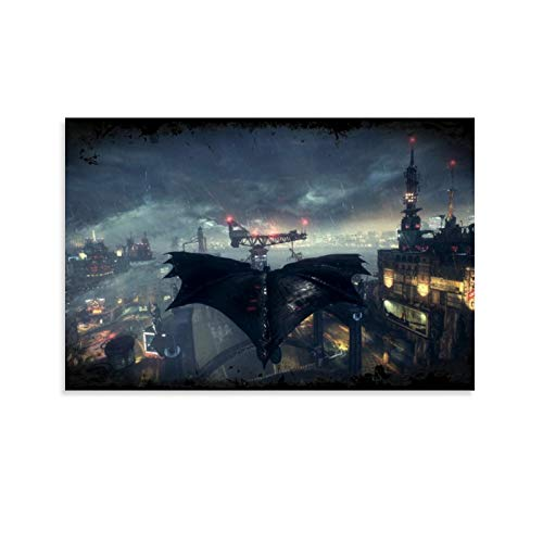 SSKJTC Lienzo decorativo para pared de estilo moderno para sala de estar, dormitorio, Batman Arkham Knight Game Batman Flying in the Rain Canvas Art de pared de 60 x 90 cm